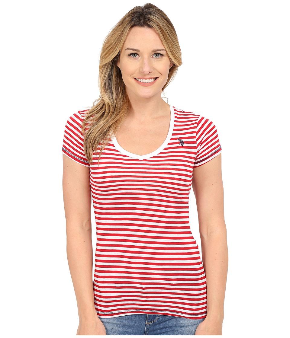 U.S. POLO ASSN. - Slub V-Neck T-Shirt (Tomato Check) Women's T Shirt
