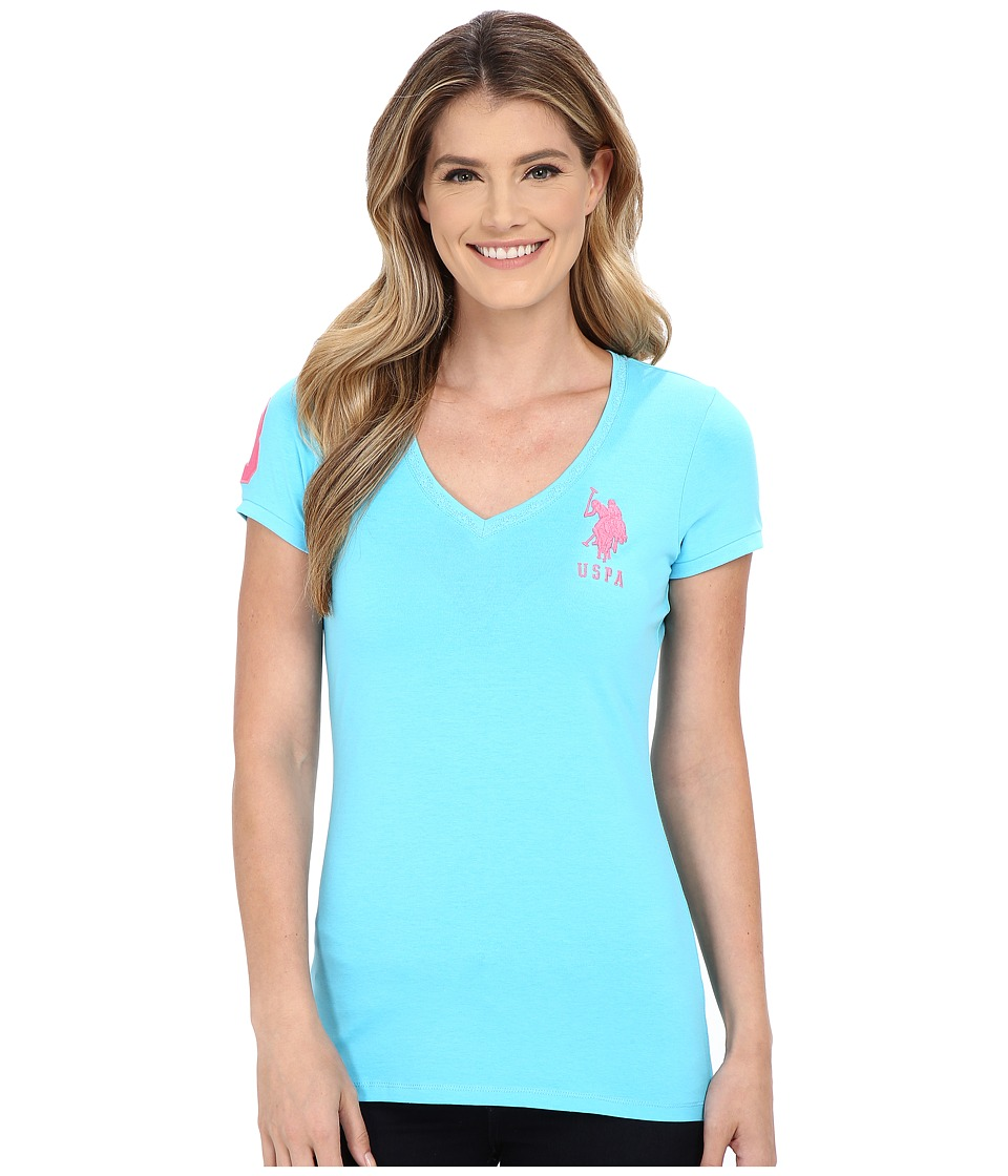 U.S. POLO ASSN. - Lace V-Neck T-Shirt (Bachelor Button) Women's Short Sleeve Pullover