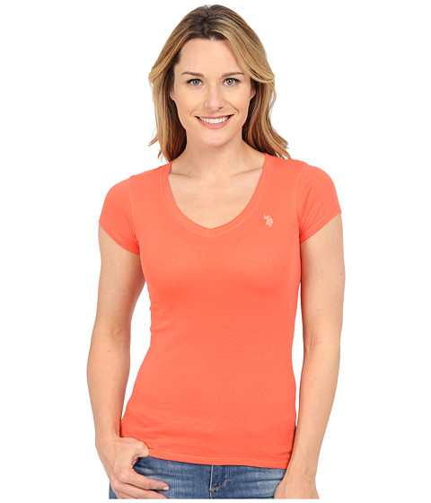 U.S. POLO ASSN. - Short Sleeve V-Neck T-Shirt (Hot Coral) Women