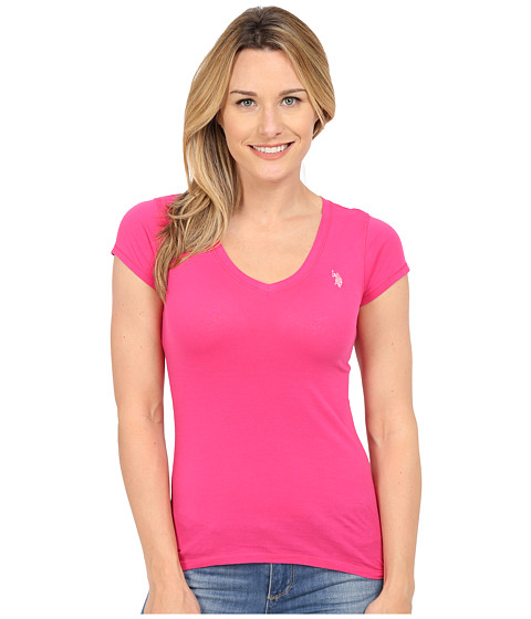 U.S. POLO ASSN. - Short Sleeve V-Neck T-Shirt (Pink Paradise) Women