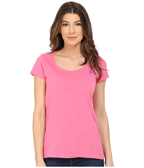 U.S. POLO ASSN. - Scoop Neck Solid T-Shirt (Hot Pink) Women's Short Sleeve Pullover