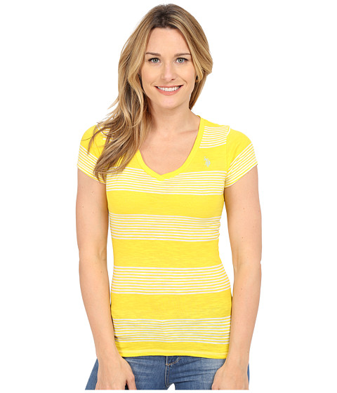 U.S. POLO ASSN. - Striped V-Neck Slub T-Shirt (Sailing Yellow) Women's T Shirt