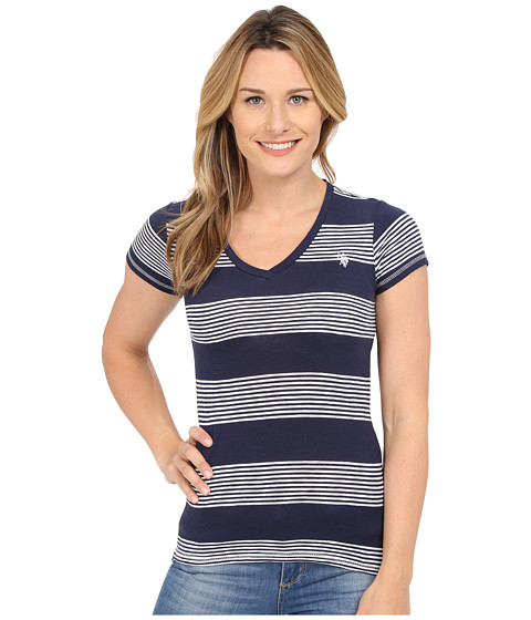 U.S. POLO ASSN. - Striped V-Neck Slub T-Shirt (Tribal Navy) Women
