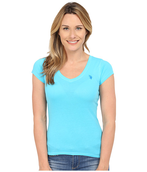 U.S. POLO ASSN. - Short Sleeve V-Neck T-Shirt (Blue Atoll) Women
