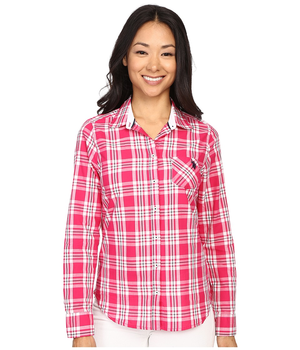 U.S. POLO ASSN. - Cotton Poplin Plaid Long Sleeve Woven Shirt (Berry Bug) Women's Long Sleeve Button Up