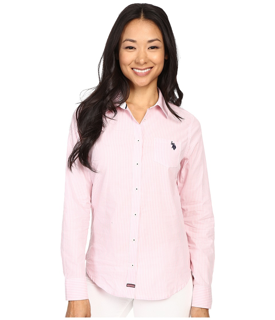 U.S. POLO ASSN. - Vertical Stripe Poplin Long Sleeve Shirt (Classic Pink) Women's Long Sleeve Button Up
