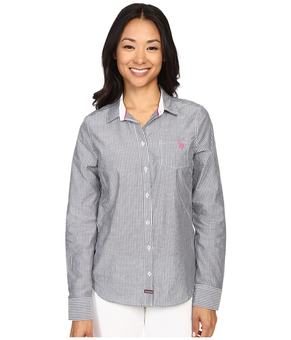U.S. POLO ASSN. - Vertical Stripe Poplin Long Sleeve Shirt (Tribal Navy) Women's Long Sleeve Button Up