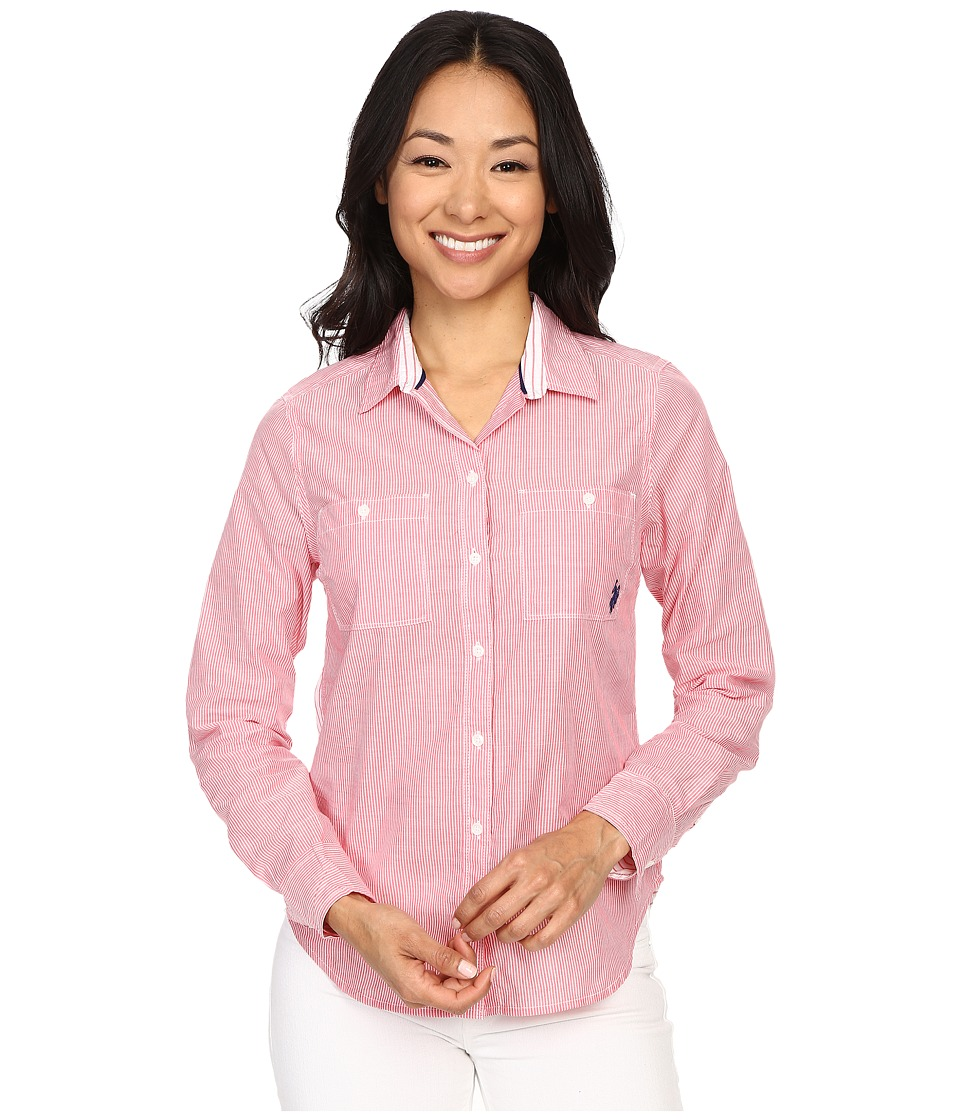 U.S. POLO ASSN. - Multi Stripe Long Sleeve Two Pocket Woven Shirt (Rouge Red) Women's Long Sleeve Button Up