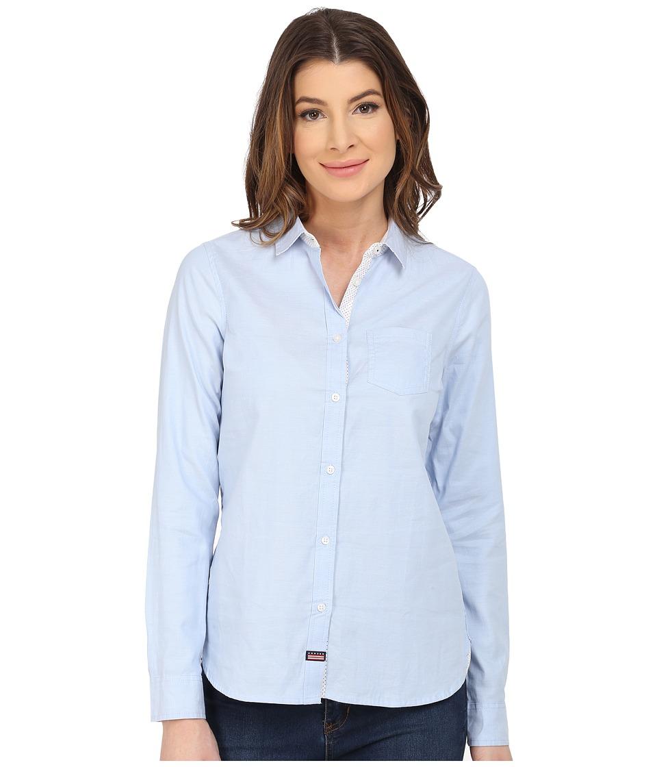 U.S. POLO ASSN. - Long Sleeve Oxford Solid and Dot Shirt (Terry Blue) Women