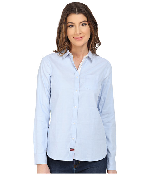 U.S. POLO ASSN. - Long Sleeve Oxford Solid and Dot Shirt (Terry Blue) Women
