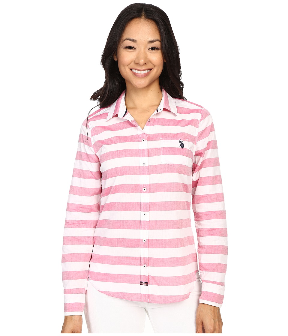 U.S. POLO ASSN. - Horizontal Stripe Poplin Long Sleeve Shirt (Berry Bug) Women's Long Sleeve Button Up