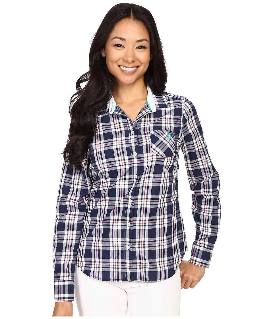 U.S. POLO ASSN. - Cotton Poplin Plaid Long Sleeve Woven Shirt (Tribal Navy) Women's Long Sleeve Button Up