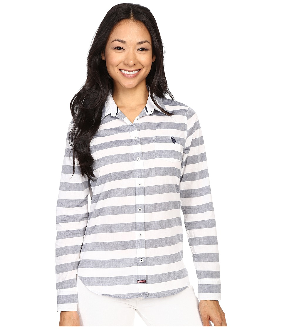 U.S. POLO ASSN. - Horizontal Stripe Poplin Long Sleeve Shirt (Tribal Navy) Women's Long Sleeve Button Up