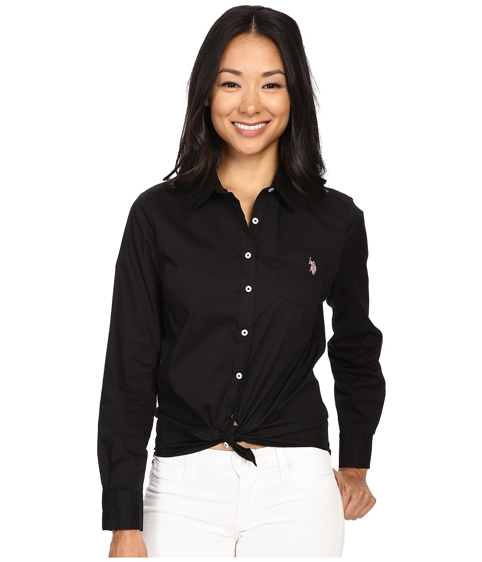U.S. POLO ASSN. - Solid Single Pocket Long Sleeve Shirt (Black/Pink) Women's Long Sleeve Button Up