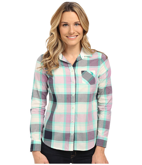 U.S. POLO ASSN. - Plaid Poplin Single Pocket Woven Shirt (Navy Blazer) Women's Long Sleeve Button Up
