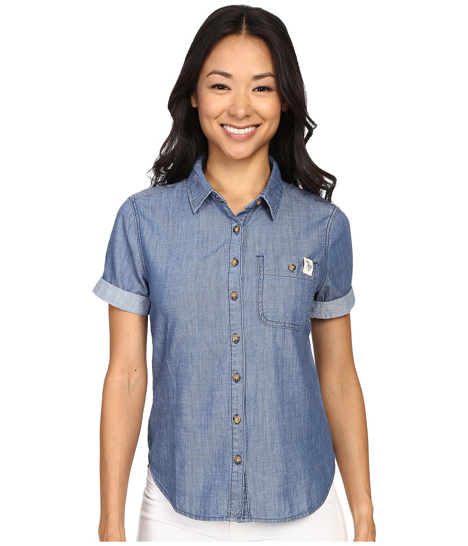 U.S. POLO ASSN. - Short Sleeve Lightweight Denim Shirt (Washed Indigo) Women's Short Sleeve Pullover