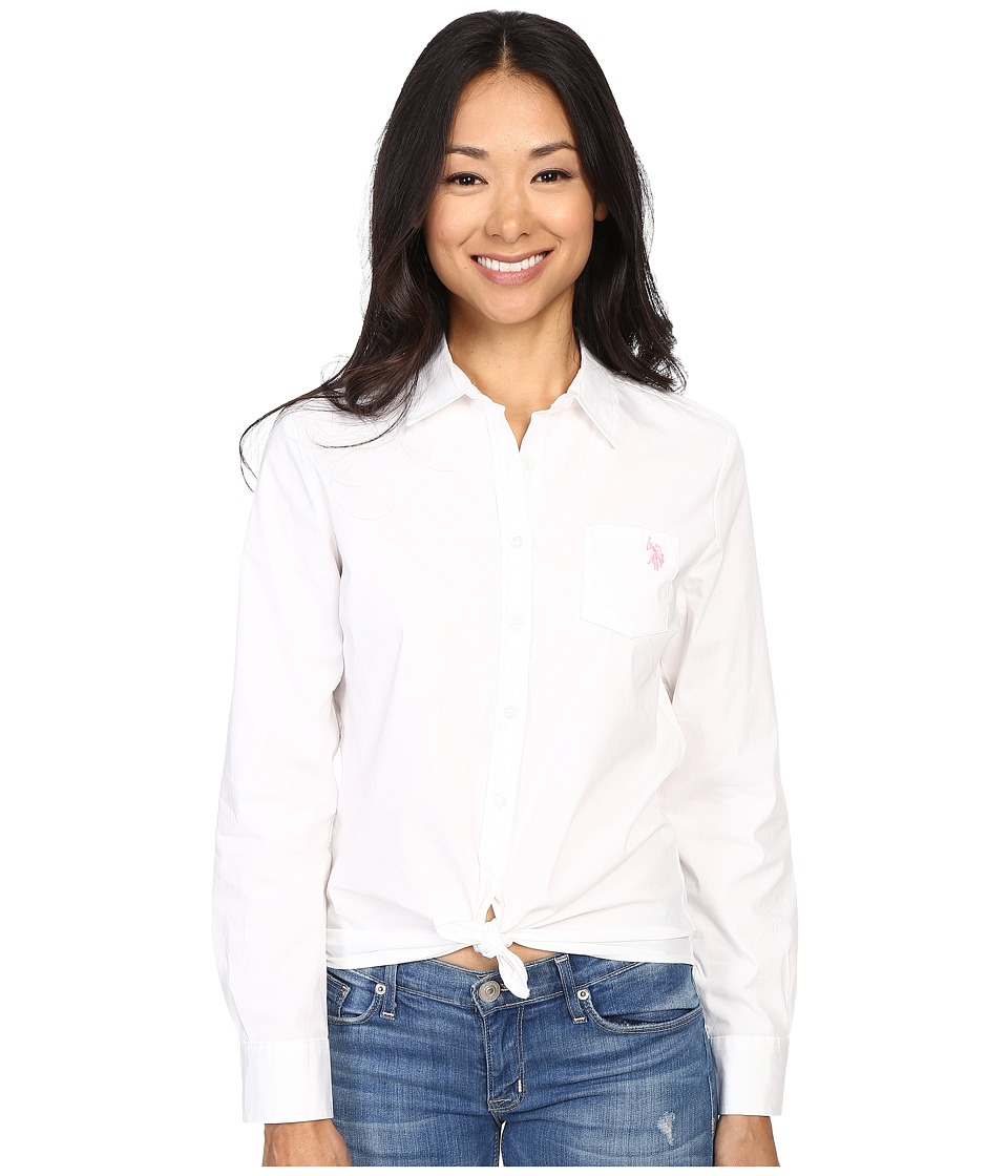 U.S. POLO ASSN. - Solid Single Pocket Long Sleeve Shirt (Optic White/Pink) Women's Long Sleeve Button Up