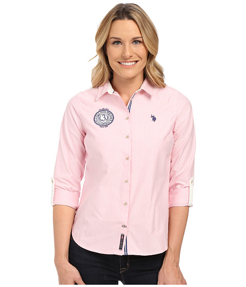U.S. POLO ASSN. - Embellished Striped Oxford Shirt (High Risk Red) Women