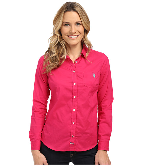 U.S. POLO ASSN. - Solid Woven Top (Berry Bug) Women's Long Sleeve Button Up