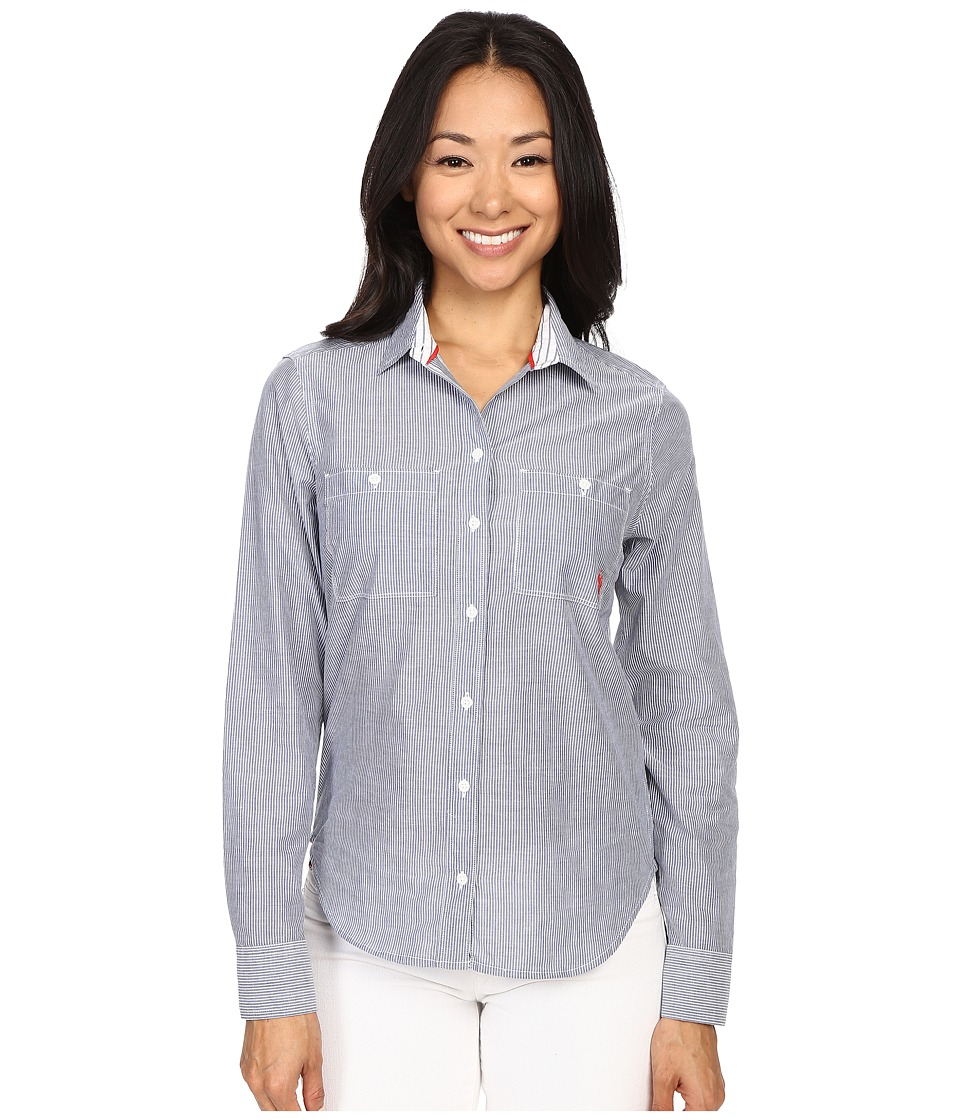 U.S. POLO ASSN. - Multi Stripe Long Sleeve Two Pocket Woven Shirt (Blue Depths) Women's Long Sleeve Button Up