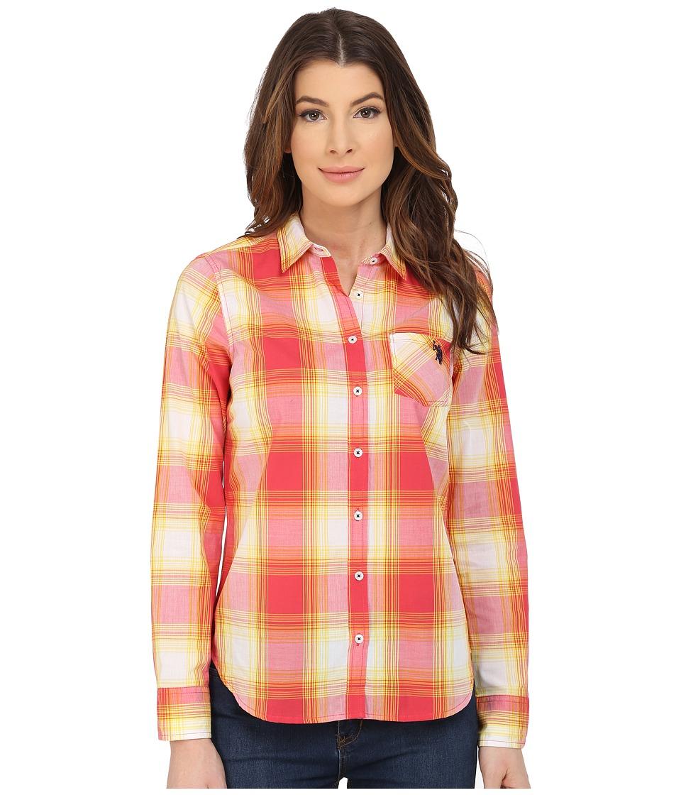 U.S. POLO ASSN. - Poplin Woven Sport Plaid Shirt (Cajun Coral) Women