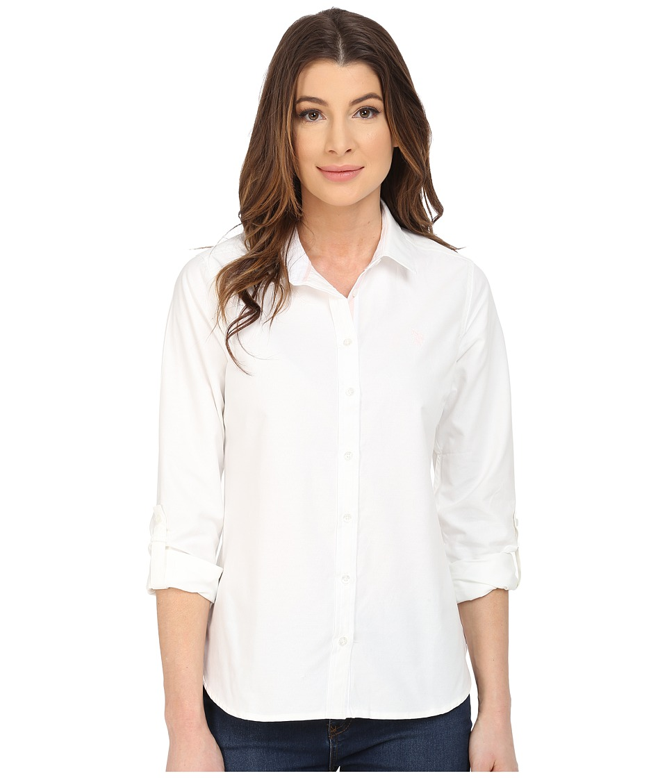U.S. POLO ASSN. - Long Sleeve Solid Oxford Shirt (Snow White) Women's Long Sleeve Button Up