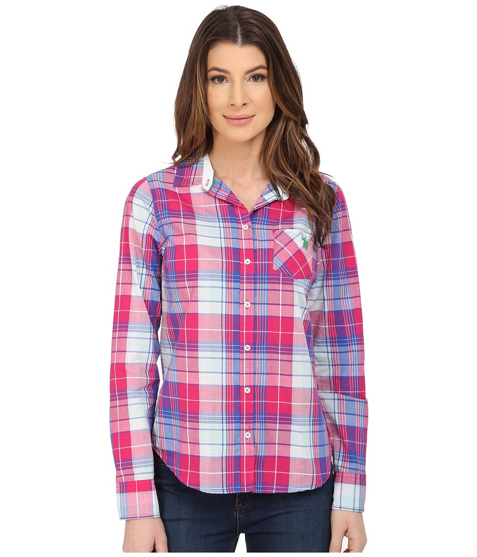 U.S. POLO ASSN. - Cotton Poplin Plaid Shirt (Berry Bug) Women