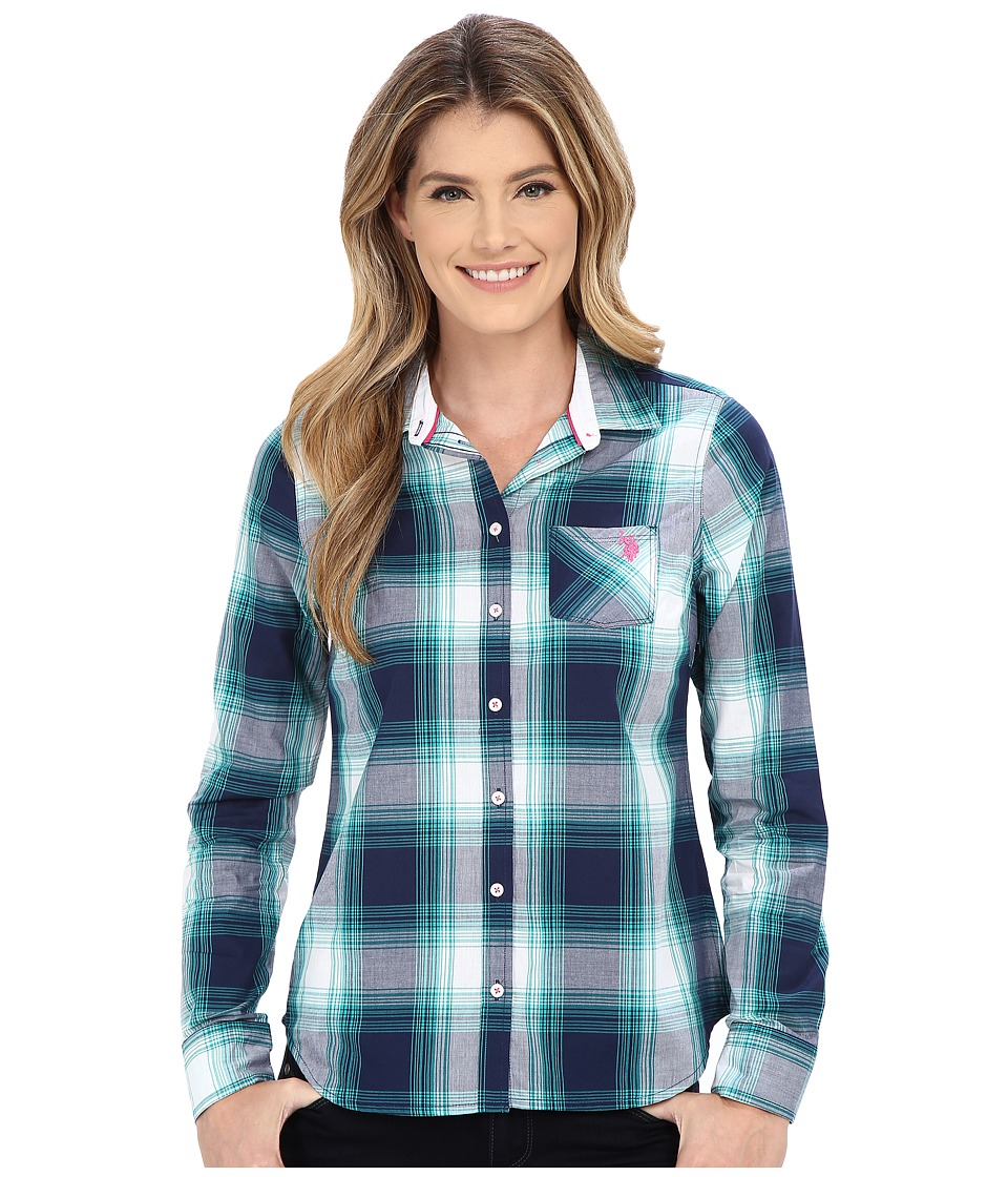 U.S. POLO ASSN. - Poplin Woven Sport Plaid Shirt (Tribal Navy) Women