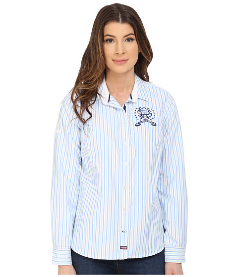 U.S. POLO ASSN. - Vertical Striped Oxford Long Sleeve Shirt (Bleached Aqua) Women's Long Sleeve Button Up