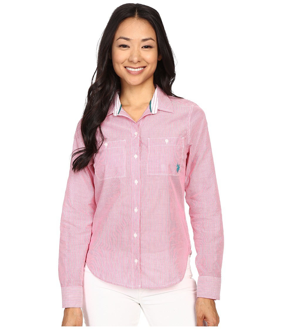 U.S. POLO ASSN. - Multi Stripe Long Sleeve Two Pocket Woven Shirt (Cabaret) Women's Long Sleeve Button Up