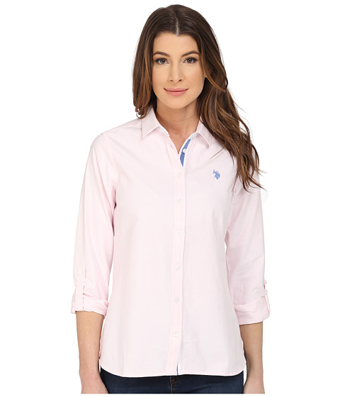 U.S. POLO ASSN. - Long Sleeve Solid Oxford Shirt (Classic Pink) Women's Long Sleeve Button Up