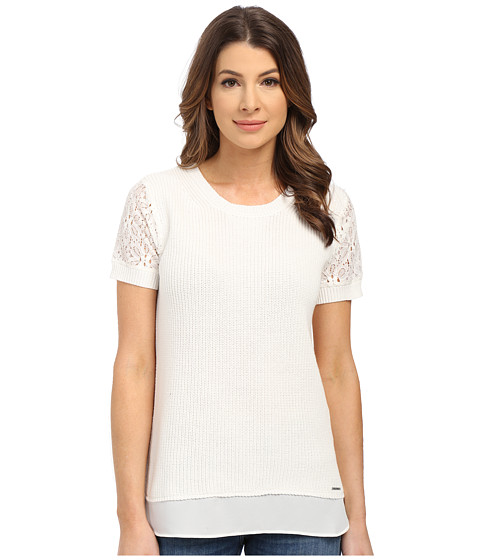 U.S. POLO ASSN. - Short Sleeve Lace Sleeve Twofer Sweater (Snow White) Women