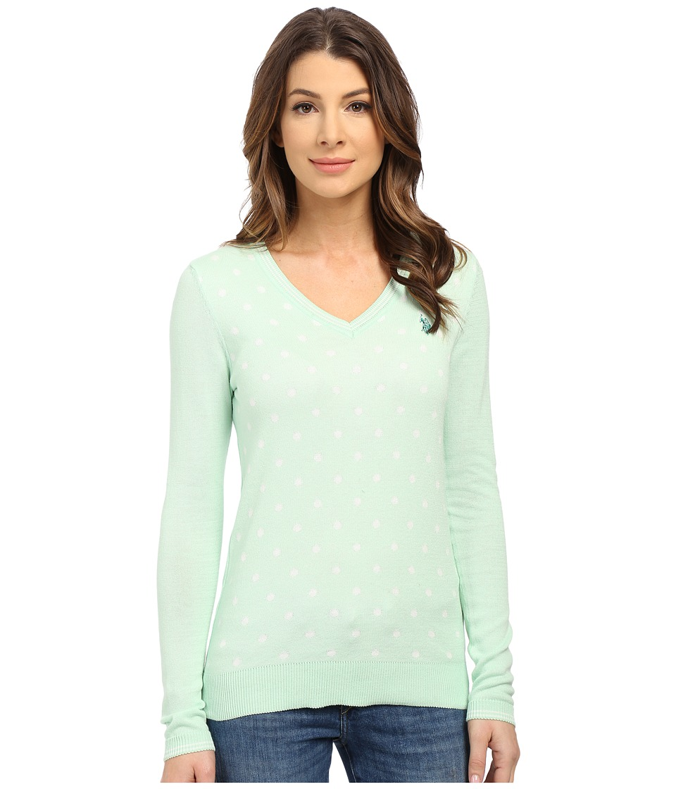 U.S. POLO ASSN. - Polka Dot V-Neck Sweater (Birds Egg Green) Women
