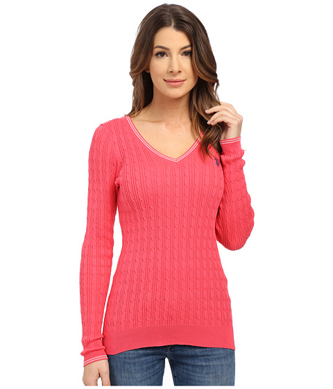 U.S. POLO ASSN. - V-Neck Cable Sweater (Rouge Red) Women