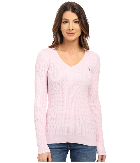 U.S. POLO ASSN. - V-Neck Cable Sweater (Lilac Snow) Women's Sweater