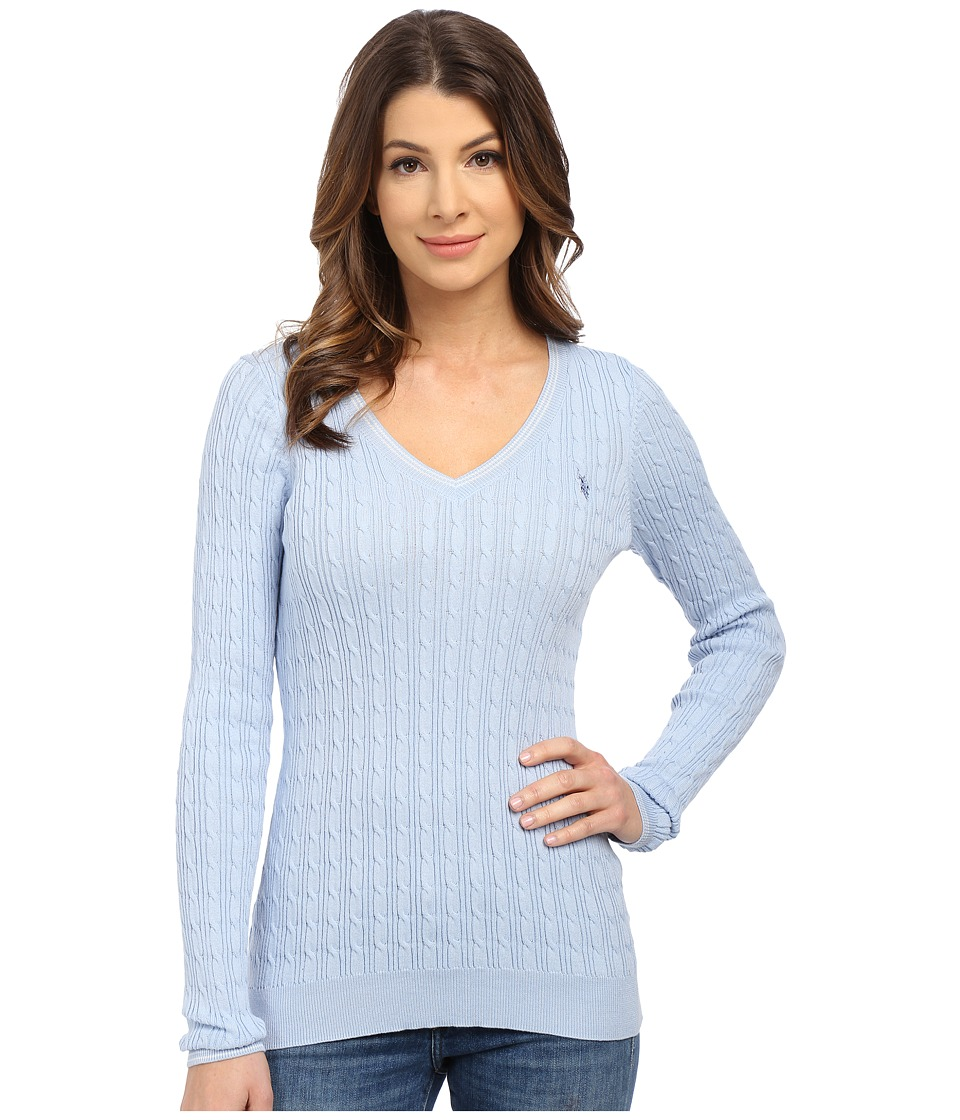 U.S. POLO ASSN. - V-Neck Cable Sweater (Skyway) Women's Sweater