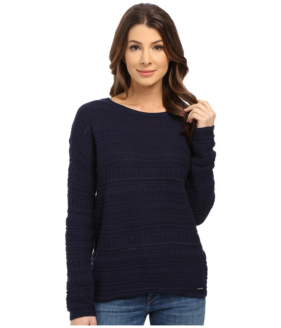 U.S. POLO ASSN. - Textured Mix Stitch Sweater (Peacoat) Women's Sweater