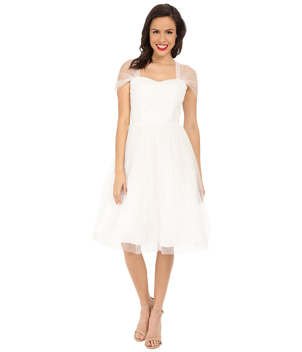 Unique Vintage Dotted Garden State Dress (White On White) Women