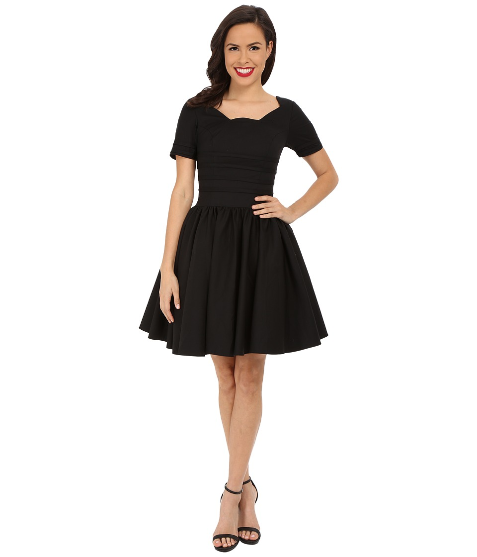 Unique Vintage - Sleeved Roman Holiday Dress (Black) Women's Dress