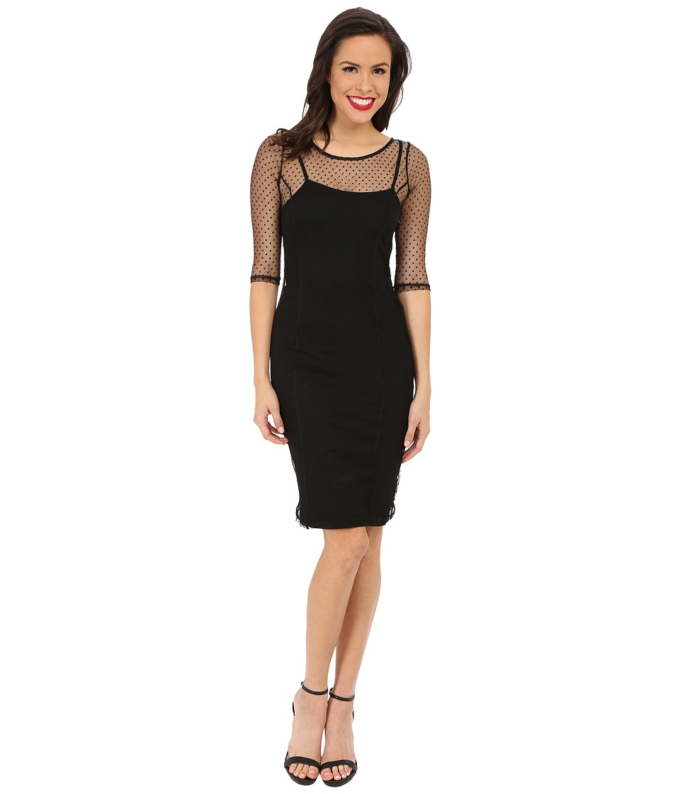 Unique Vintage - Dotted Lace Raquel Wiggle Dress (Black Dots) Women's Dress