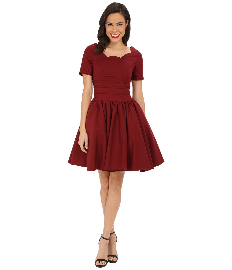 Unique Vintage - Sleeved Roman Holiday Dress (Merlot) Women's Dress