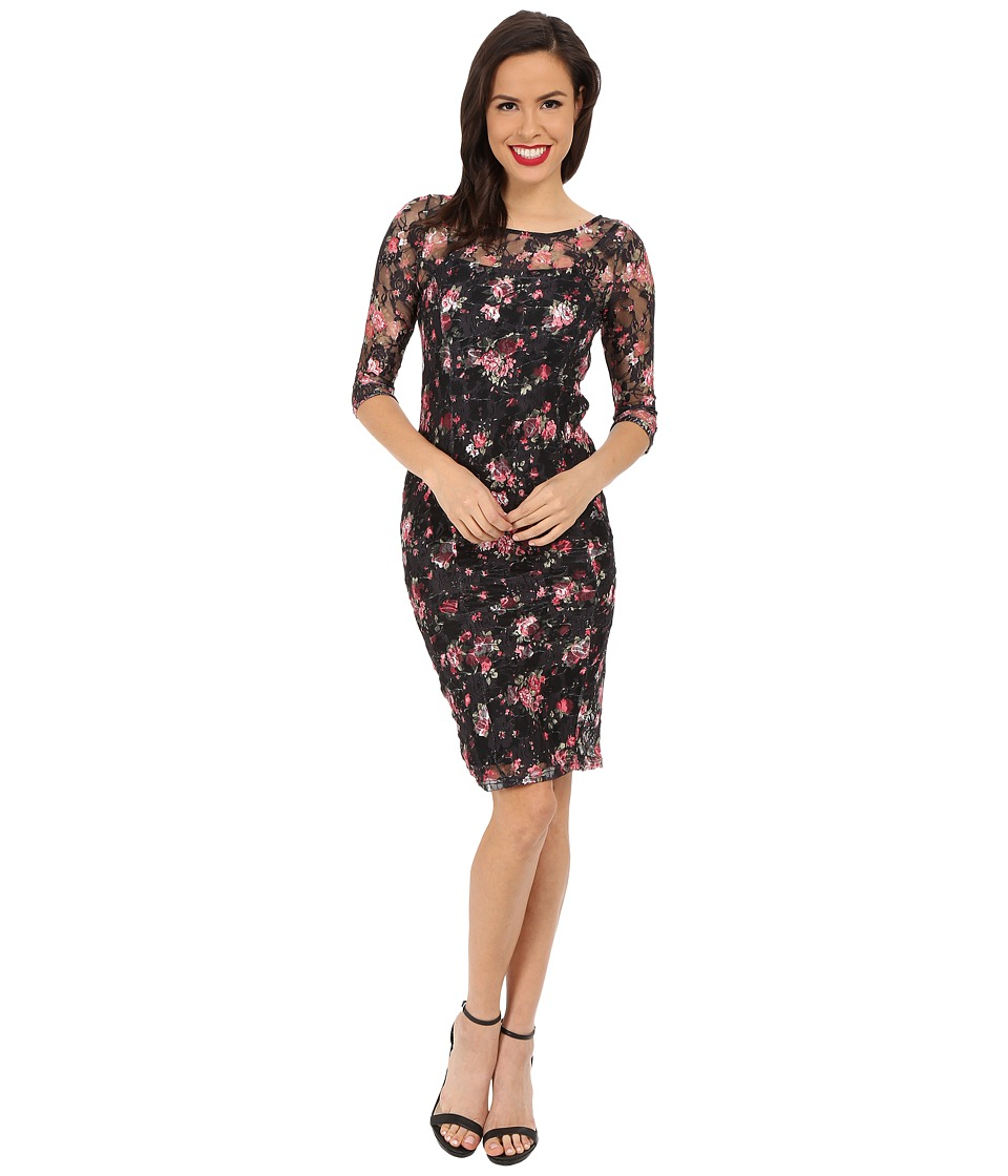 Unique Vintage - Stretch Lace Raquel Wiggle Dress (Black Floral) Women's Dress
