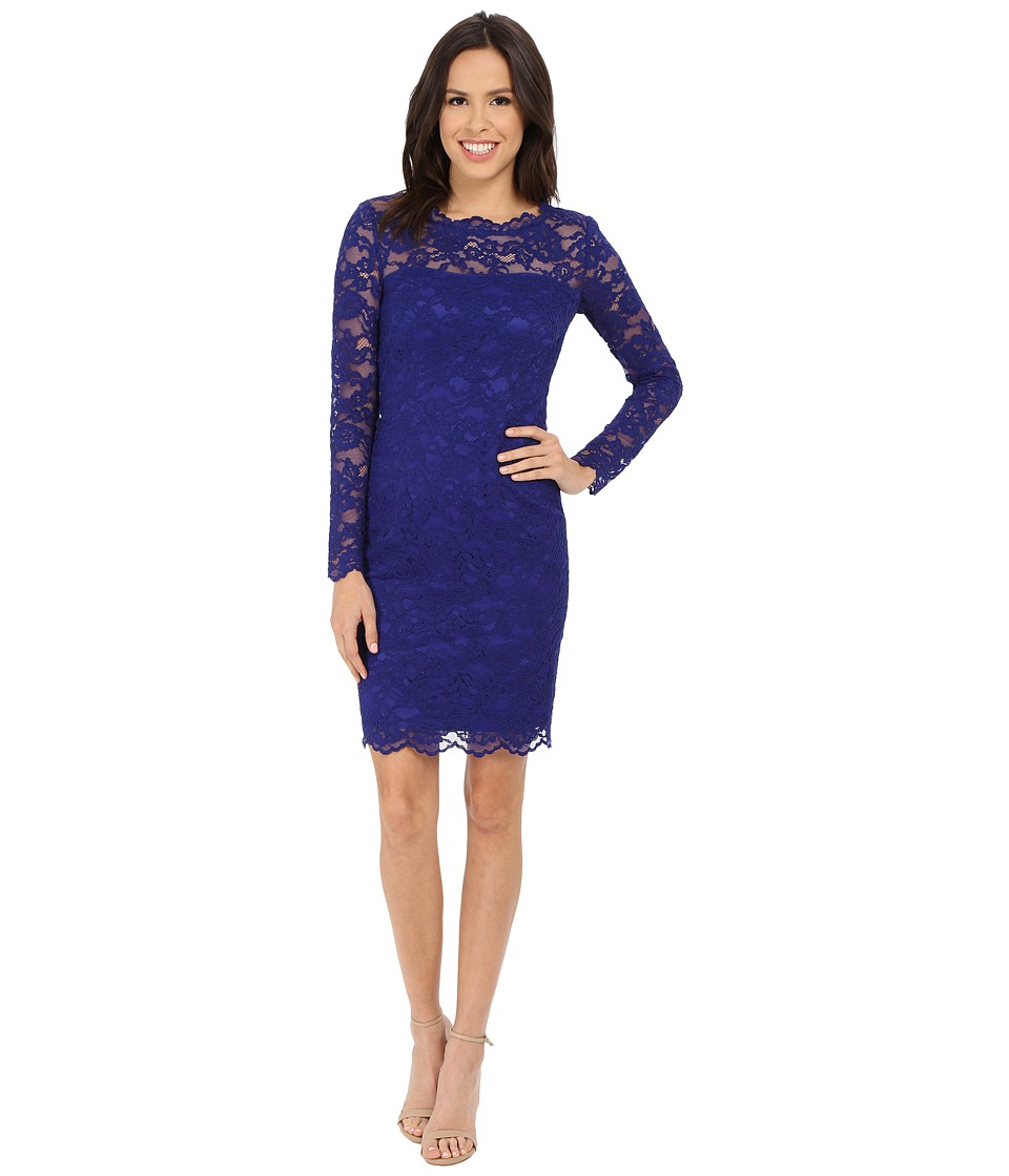 Nicole Miller Charlotte Long Sleeve Lace Dress (Royal Blue) Women