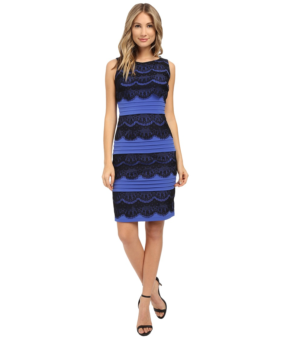 Sangria - Shutter Lace Dress (Black/Delphinium) Women's Dress