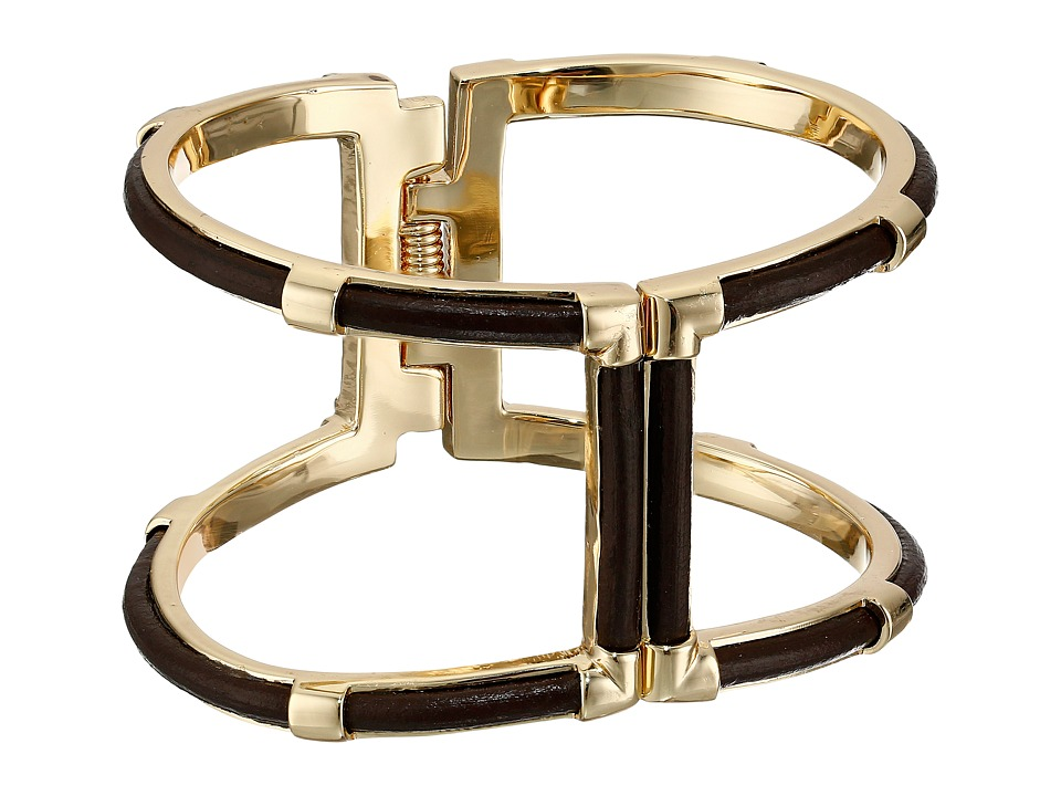 Cole Haan - Genuine Leather Open Hinge Cuff (Gold/ Chesatnut Leather) Bracelet