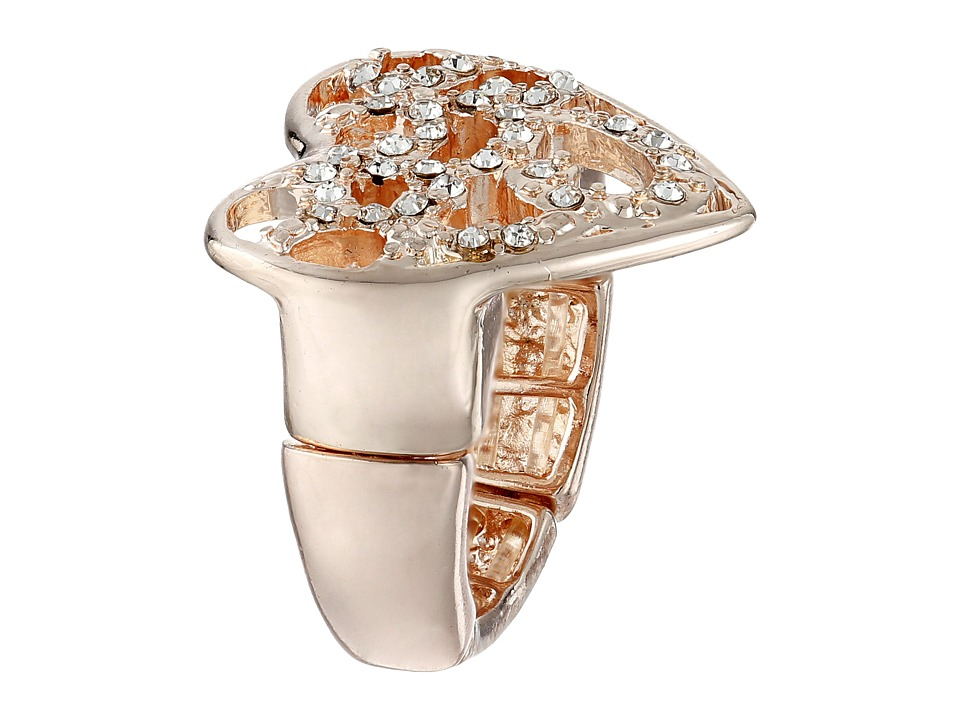 GUESS - Pave Heart Swirl Stretch Ring (Rose Gold/Crystal) Ring