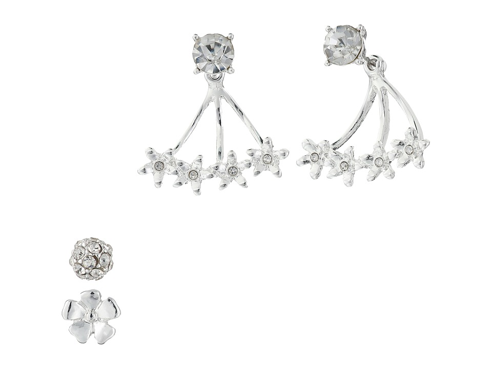 GUESS - Flower Trio Stud Jacket Earrings (Silver/Crystal) Earring