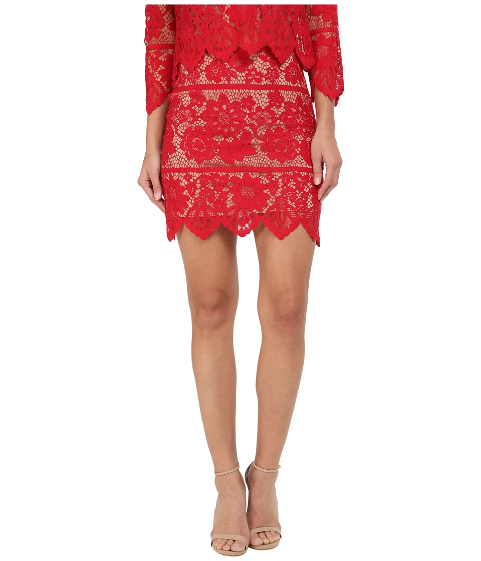 For Love and Lemons - Gianna Mini Skirt (Hot Red) Women's Skirt