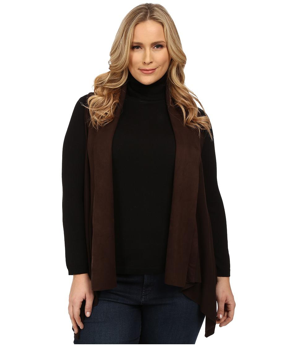 Karen Kane Plus - Plus Size Faux Suede Collar Vest (Brown) Women