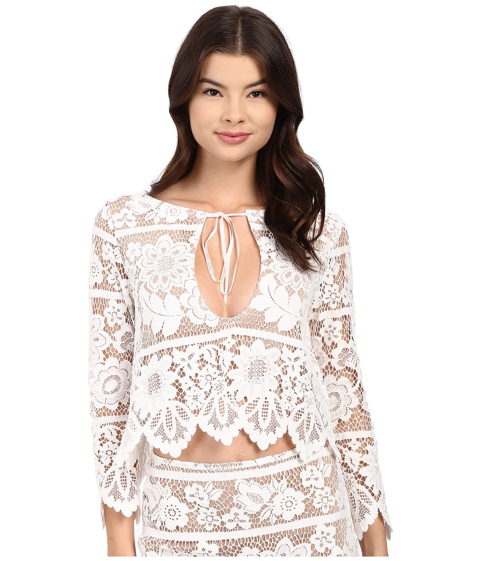 For Love and Lemons - Gianna Crop Top (White) Women's Clothing